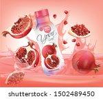 vector pomegranate juice  fruit ... | Shutterstock .eps vector #1502489450