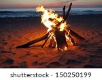 inviting campfire on the beach... | Shutterstock . vector #150250199
