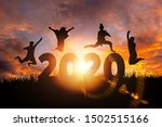 2020 new year silhouette of...