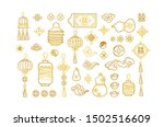 Stock vector vector set with golden hand draw elements in chinese style gold isolated icons for design elements 1502516609