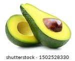 Half Of Fresh Avocado Isolated...