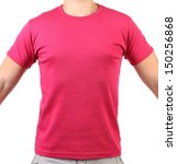 Crimson T-shirt on a body. Front. - stock photo