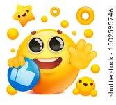 yellow emoji 3d smile face... | Shutterstock .eps vector #1502595746