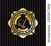 cargo icon inside golden emblem ... | Shutterstock .eps vector #1502617406