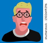 blond man in glasses is very...   Shutterstock .eps vector #1502649296