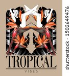 tropical vibes. vector hand... | Shutterstock .eps vector #1502649476