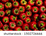 A Lot Of Red Bell Pepper With...