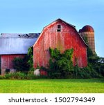 Red Wooden Barn Has Collapsing...