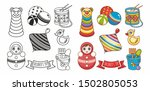 baby toy.roly poly tumbler doll ... | Shutterstock .eps vector #1502805053