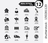 Real estate icons,Black version,vector - stock vector