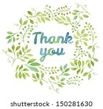 Thank You Text In Watercolor...
