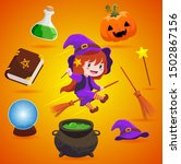 cute witch isolated... | Shutterstock .eps vector #1502867156