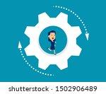 business person running inside... | Shutterstock .eps vector #1502906489