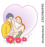 happy family  father and mother ... | Shutterstock .eps vector #1502984990