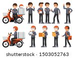 male delivery staff with... | Shutterstock .eps vector #1503052763