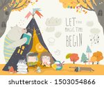 Kids reading book with animals in a teepee tent - stock vector