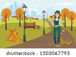 woman janitor sweeping and...   Shutterstock .eps vector #1503067793