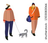 Stock vector man and woman dressed in winter clothing standing girl holding dog on leash isolated characters 1503083066