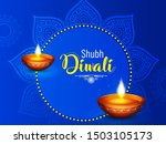 Stock vector diwali vector illustration with text of happy diwali and festival elements and traditional diya and 1503105173