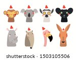 christmas set with cute animals ... | Shutterstock .eps vector #1503105506