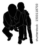 father and son black silhouettes   Shutterstock . vector #1503118703