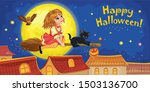 cat and little witch flying on...   Shutterstock . vector #1503136700