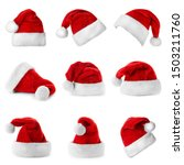 set of red santa claus hats on... | Shutterstock . vector #1503211760