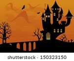 halloween cartoon landscape | Shutterstock .eps vector #150323150