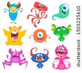 cute cartoon monsters. set of...