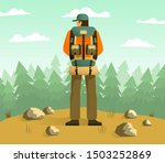 man with camping backpack back... | Shutterstock .eps vector #1503252869