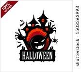 halloween skull castle vector... | Shutterstock .eps vector #1503263993