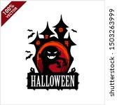 halloween skull castle vector... | Shutterstock .eps vector #1503263999