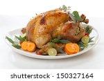 Garnished Roasted Turkey With...