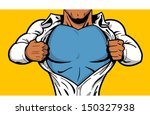 Black comic book superhero opening shirt to reveal costume underneath with Your Logo on his chest!