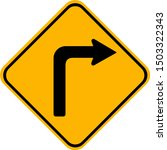 Right Turn Warning Sign Draw...