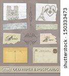 old paper. postcards. paris | Shutterstock .eps vector #150333473