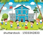 funny students and school... | Shutterstock .eps vector #1503342833
