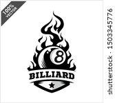 billiard 8 ball flame badge... | Shutterstock .eps vector #1503345776