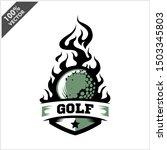 golf ball flame badge logo... | Shutterstock .eps vector #1503345803