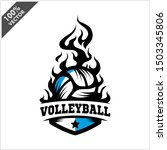 volleyball ball flame badge... | Shutterstock .eps vector #1503345806