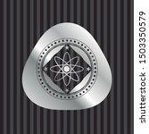 atom icon inside silver badge... | Shutterstock .eps vector #1503350579