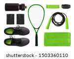 flat lay of sport accessories... | Shutterstock . vector #1503360110