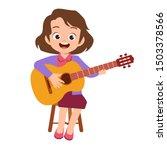 happy cute teen play guitar...   Shutterstock .eps vector #1503378566