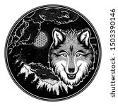 portrait of a wolf on a... | Shutterstock .eps vector #1503390146