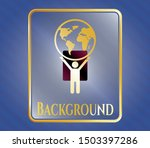 shiny badge with man lifting... | Shutterstock .eps vector #1503397286