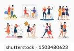 set of women friends spending...   Shutterstock .eps vector #1503480623