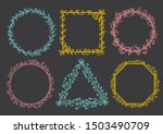 hand drawn floral frames...   Shutterstock .eps vector #1503490709
