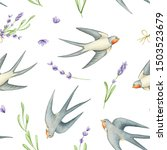 Stock photo hand painted watercolor flower seamless pattern floral fabric texture with lavender and swallow 1503523679
