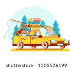 family road trip on a yellow... | Shutterstock .eps vector #1503526199