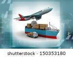 3d rendering of a flying plane  ... | Shutterstock . vector #150353180